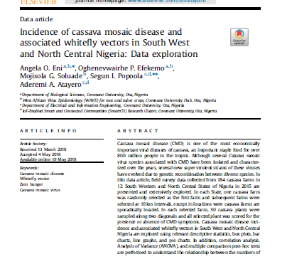 Incidence of cassava mosaic disease and associated whitefly vectors in South West and North Central Nigeria: data exploration