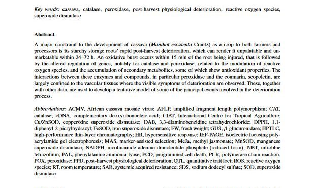 Oxidative stress responses during cassava post-harvest physiological deterioration