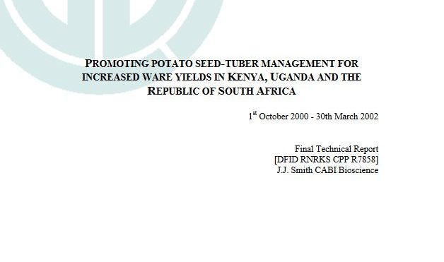 Promoting potato seed-tuber management for increased ware yields in Kenya, Uganda and the Republic of South Africa