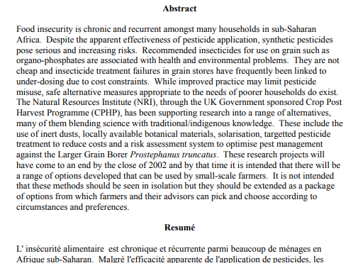 Post-harvest research: overview of approaches to pest management in African grain stores that minimise the use of synthetic insecticides