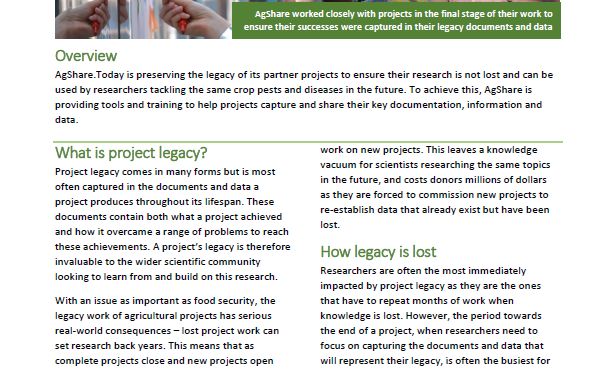 AgShare impact story 7: preserving the legacy of agricultural research projects in Africa